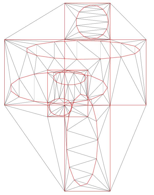 Constrained Delaunay Triangulation of 3 Zone Boundaries