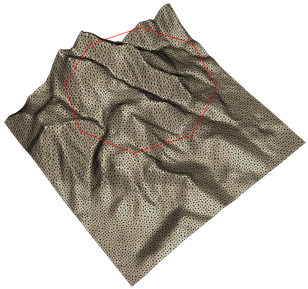 Terrain with polygonal knife segments (cookie cutter)