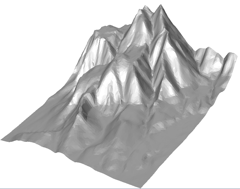 Triangle mesh fitted to valleys and ridges
