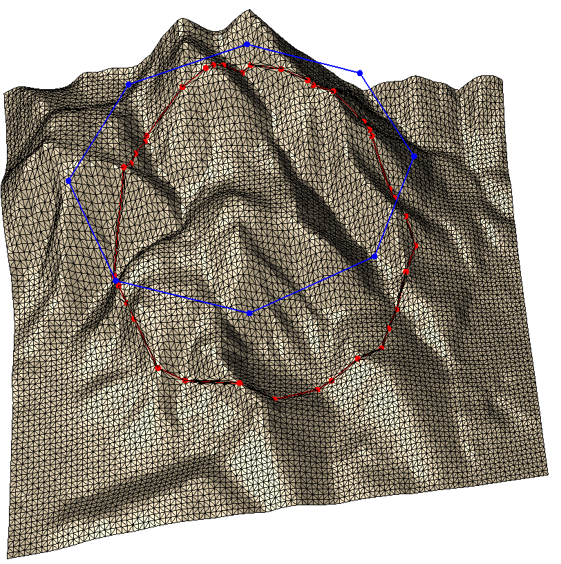 Breakline insertion without subdivision, with draping