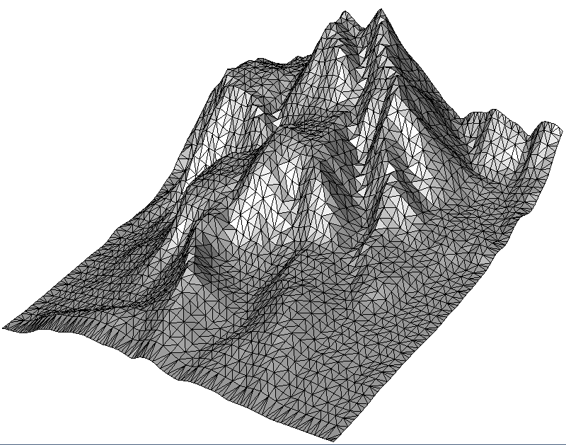 Terrain grid-simplified according to the desired number of points
