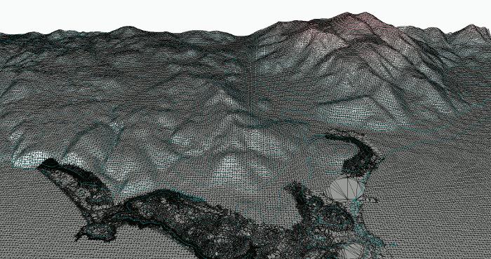 Delaunay Terrain triangulation (2.5D TIN), 550 000 triangles
