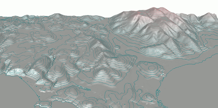 ISO Lines from a large terrain at different elevations
