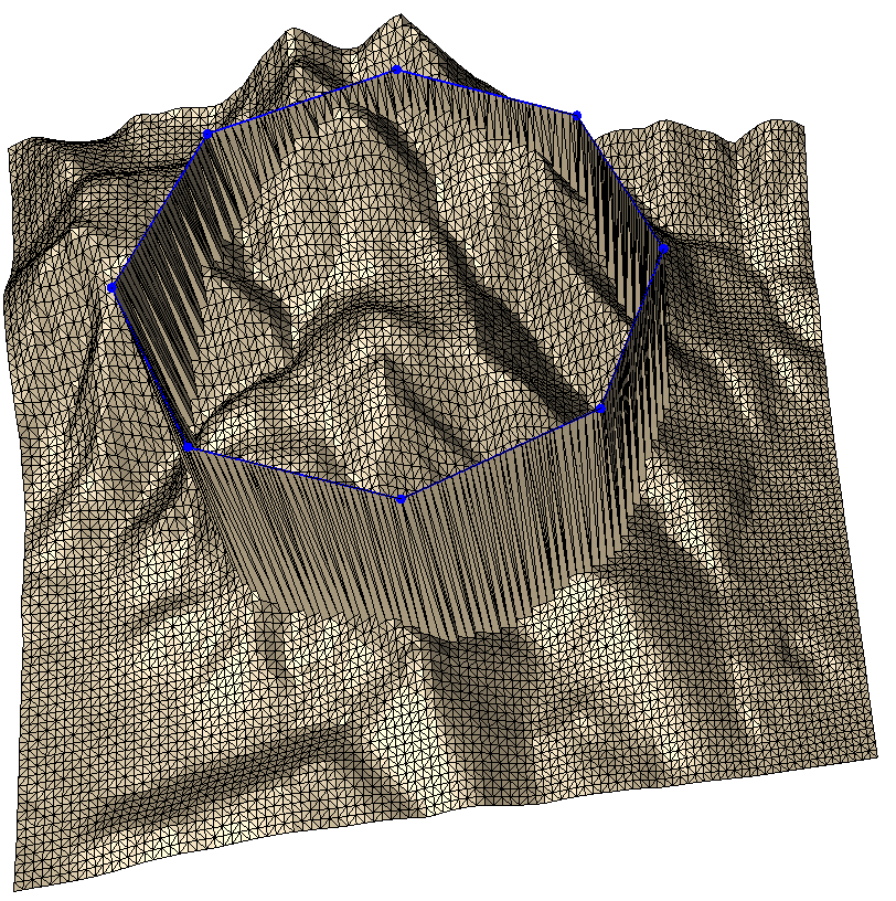 Breakline insertion with subdivision, without draping