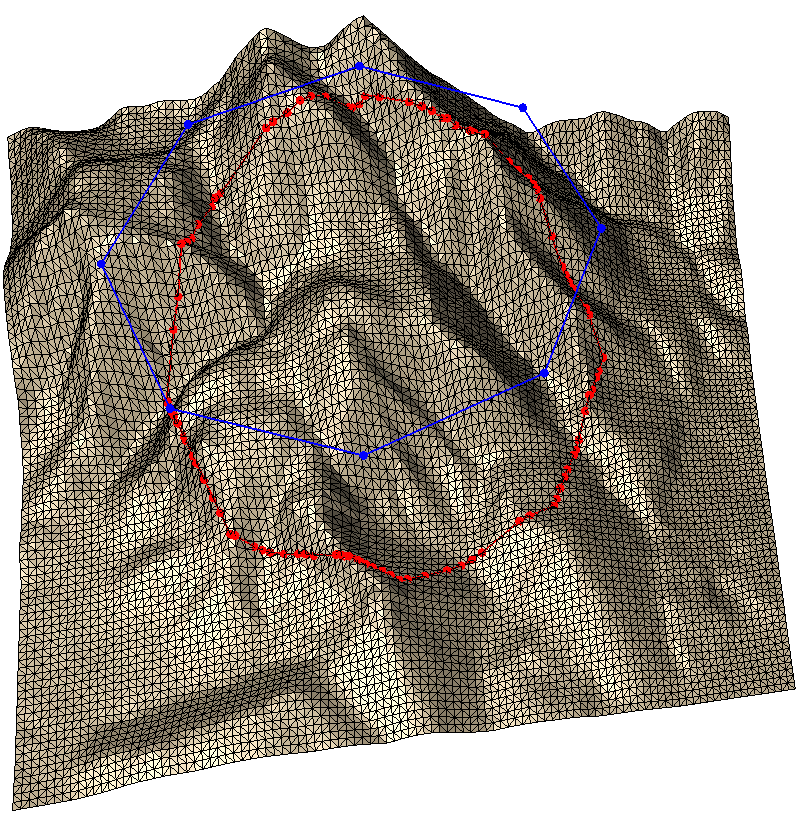 Breakline insertion with subdivision, with draping