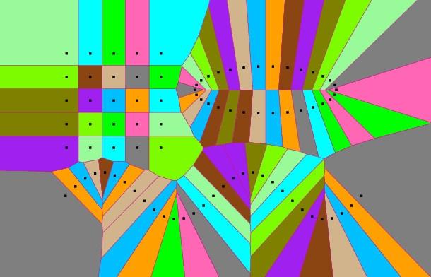 Voronoi diagram, 2D in C++