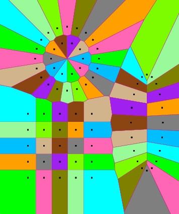 2D Voronoi diagram with sites